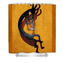 Kokopelli Golden Harvest Shower Curtain by Vicki Pelham