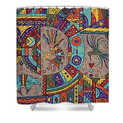 Kokopelli Mandala Shower Curtain