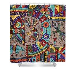 Kokopelli Mandala Shower Curtain