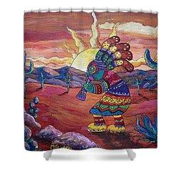 Kokopelli Sunset Shower Curtain by Megan Walsh