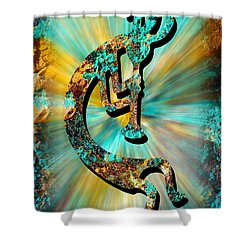 Kokopelli Turquoise And Gold Shower Curtain