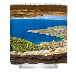 Komiza Bay Aerial View Through Stone Window Shower Curtain