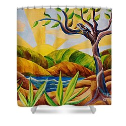 Kookaburra Landscape Shower Curtain by Judy Via-Wolff