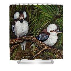 Kookaburras Shower Curtain by Renate Voigt