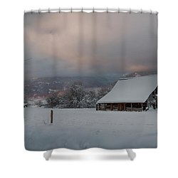 Kootenai Valley Barn Shower Curtain