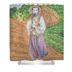Korean Farmer -- The Original -- Old Asian Man Outdoors Shower Curtain