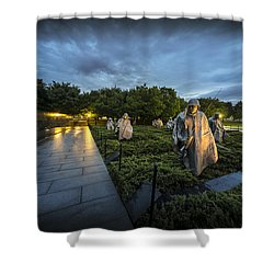 Shower Curtain featuring the photograph Korean War Memorial by David Morefield
