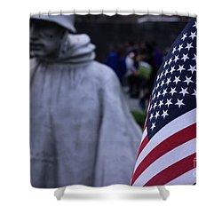 Shower Curtain featuring the photograph Korean War Memorial Washington Dc by John S