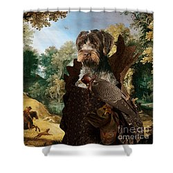 Korthals Pointing Griffon Art Canvas Print - The Hunters And Lady Falconer Shower Curtain