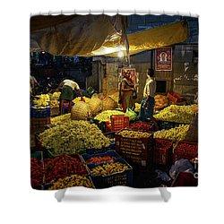 Shower Curtain featuring the photograph Koyambedu Chennai Flower Market Predawn by Mike Reid