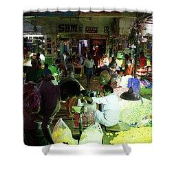 Shower Curtain featuring the photograph Koyambedu Flower Market Stalls by Mike Reid