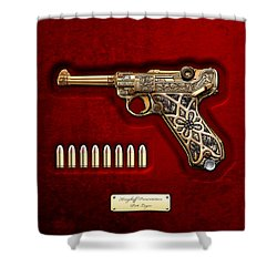 Krieghoff Presentation P.08 Luger  Shower Curtain