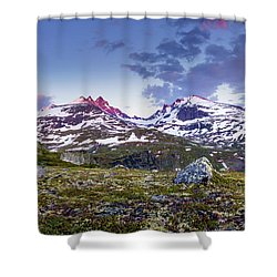 Shower Curtain featuring the photograph Crimson Peaks by Dmytro Korol