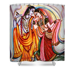Krishna And Radha Shower Curtain by Harsh Malik