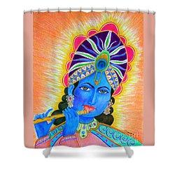 Krishna -- Colorful Portrait Of Hindu God Shower Curtain