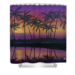 Shower Curtain featuring the painting Kristine's Sunset by Amelie Simmons