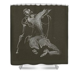 Kroki-2015-04-11-figure-drawing-white-chalk-marica-ohlsson-marica-ohlsson Shower Curtain
