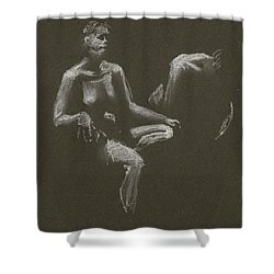 Kroki 2015 04 25 _3 Figure Drawing White Chalk Shower Curtain
