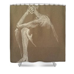 Kroki 2015 06 18_9 Figure Drawing White Chalk Shower Curtain