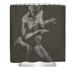 Kroki 2015 10 03_12 Figure Drawing White Chalk Shower Curtain
