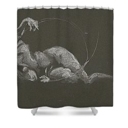 Kroki 2015 10 03_14b Figure Drawing White Chalk Shower Curtain
