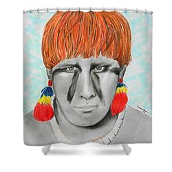Kuikuro From Brazil -- Portrait Of South American Tribal Man Shower Curtain