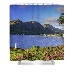 Kuku'i Point Lighthouse, Nawiliwili Bay, Kauai Hawaii Shower Curtain