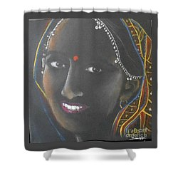 Kumkuma -- Close-up Portrait Of Indian Woman Shower Curtain