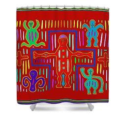 Shower Curtain featuring the digital art Kuna Indian Mola Crucifix by Vagabond Folk Art - Virginia Vivier