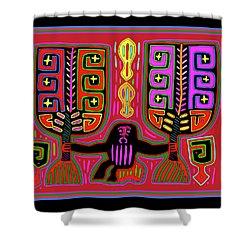 Shower Curtain featuring the digital art Kuna Indian Mola Man With Fans by Vagabond Folk Art - Virginia Vivier