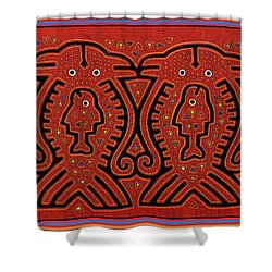 Kuna Indian Skate Fish Shower Curtain by Vagabond Folk Art - Virginia Vivier