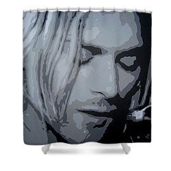 Shower Curtain featuring the painting Kurt Cobain by Ashley Price