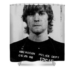 Kurt Cobain Mug Shot Vertical Black And Gray Grey Shower Curtain