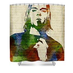 Kurt Cobain Watercolor Shower Curtain