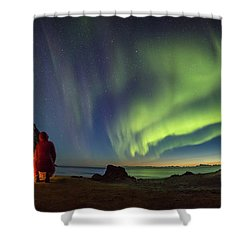 Kvalvika Under The Lights Shower Curtain by Alex Conu