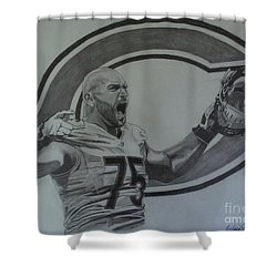 Shower Curtain featuring the drawing Kyle Long Portrait by Melissa Goodrich
