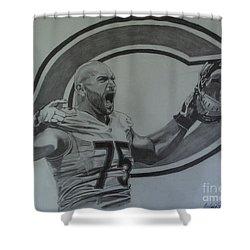 Kyle Long Portrait Shower Curtain by Melissa Goodrich