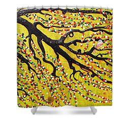 Shower Curtain featuring the mixed media Kyoto Blossoms by Natalie Briney