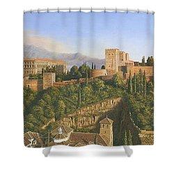 La Alhambra Granada Spain Shower Curtain by Richard Harpum