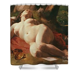 La Bacchante Shower Curtain by Gustave Courbet
