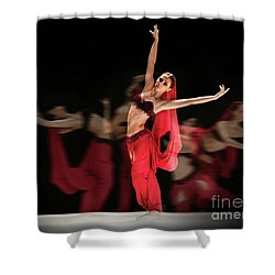 Shower Curtain featuring the photograph La Bayadere Ballerina In Red Tutu Ballet by Dimitar Hristov