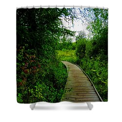 Shower Curtain featuring the photograph La Budde Boardwalk by Kimberly Mackowski