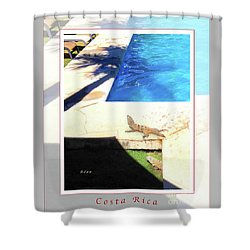 la Casita Playa Hermosa Puntarenas Costa Rica - Iguanas Poolside Greeting Card Poster Shower Curtain