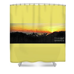 la Casita Playa Hermosa Puntarenas Costa Rica - Sunset A Panorama Shower Curtain by Felipe Adan Lerma