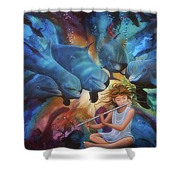 la flautista III Shower Curtain by Angel Ortiz