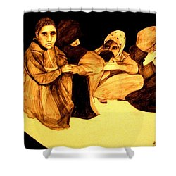 Shower Curtain featuring the drawing La It Khafeen Habibti by MB Dallocchio