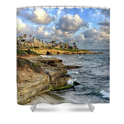 La Jolla Coastline Shower Curtain by Eddie Yerkish