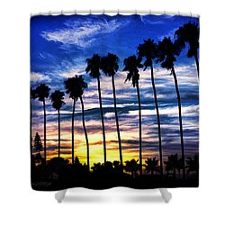 La Jolla Silhouette - Digital Painting Shower Curtain
