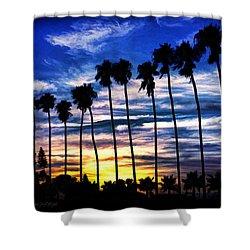 La Jolla Silhouette - Digital Painting Shower Curtain
