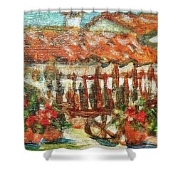 Shower Curtain featuring the painting La Mancha by Mindy Newman